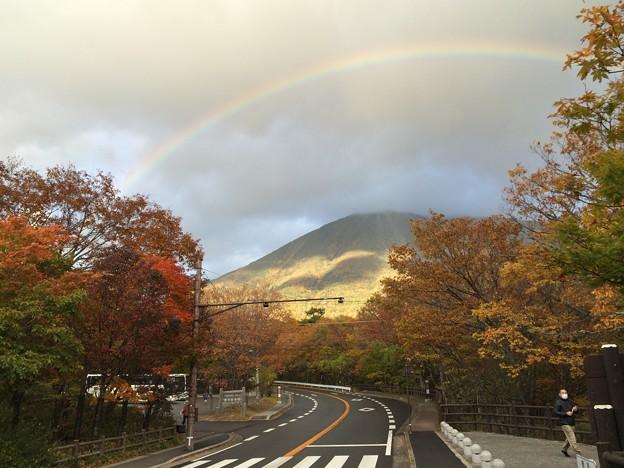 紅葉と虹5