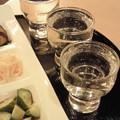 Photos: 本日の利き酒セット:手前より『磯自慢(静岡)』『愛宕の松(宮 城)...