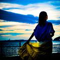 写真: 海と夕焼け