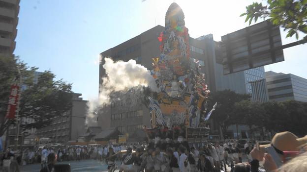 2018年 博多祇園山笠 追い山ならし 走る飾り山笠)