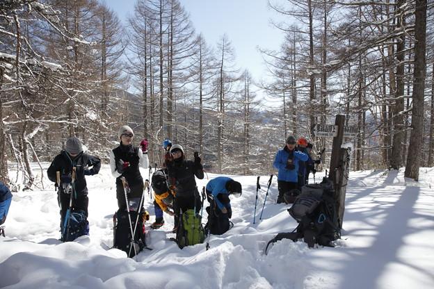 日本の山 雪山講習会S1 蓼科山 壱本目の休憩