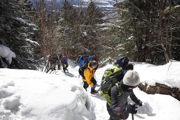 日本の山 雪山講習会S1 蓼科山 急登です