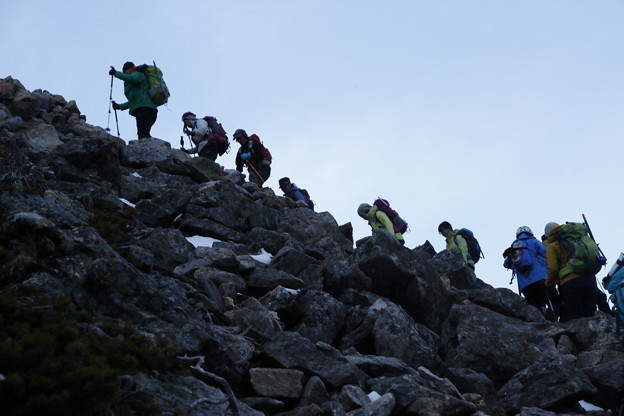日本の山 雪山講習会S2 常念岳 常念岳へのガレ場