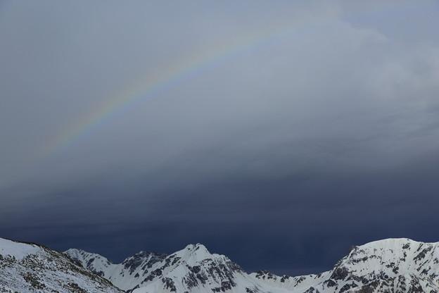 日本の山 雪山講習会S2 常念岳 虹も現れました