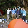 日本の山 石井登山学校 テント泊赤岳 テント前にて