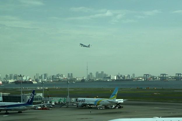 北に向かって飛び立つ旅客機