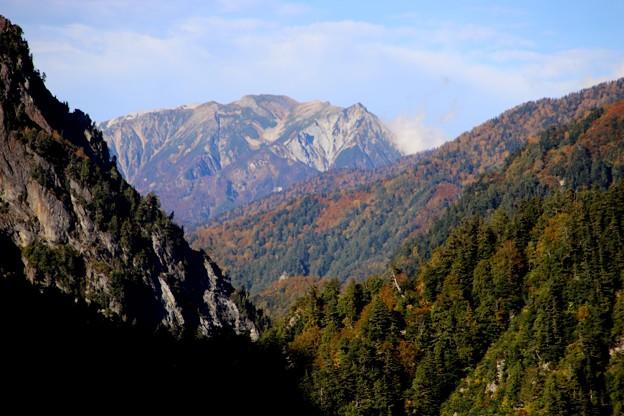黒部ダムより下流風景の山