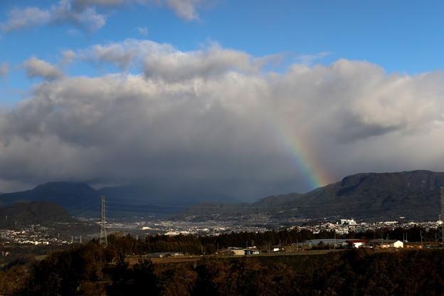 赤城高原SAでの虹の出迎え