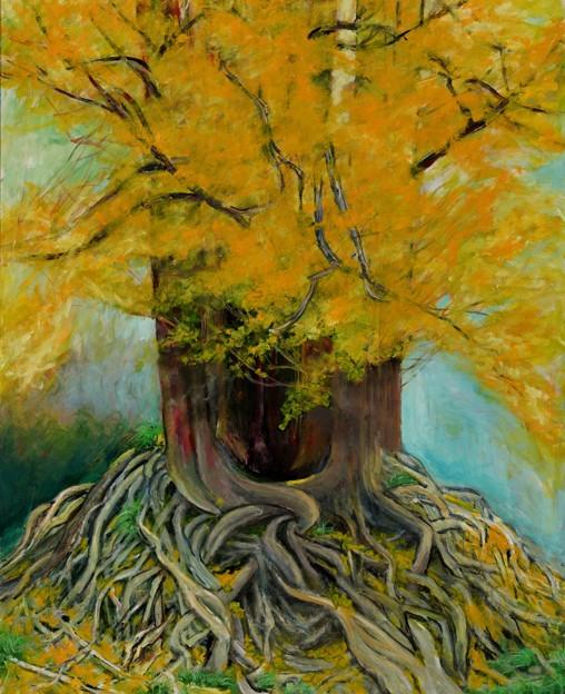 出品作品 題名「樹齢700年余り威厳」 F100 油彩
