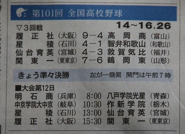 第101回高校野球 三回戦劇的な試合で感動(三試合)。