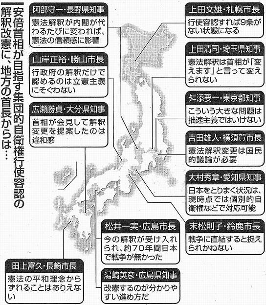 地方政治 強まる危機感 首長 「解釈改憲ノー」続々図版