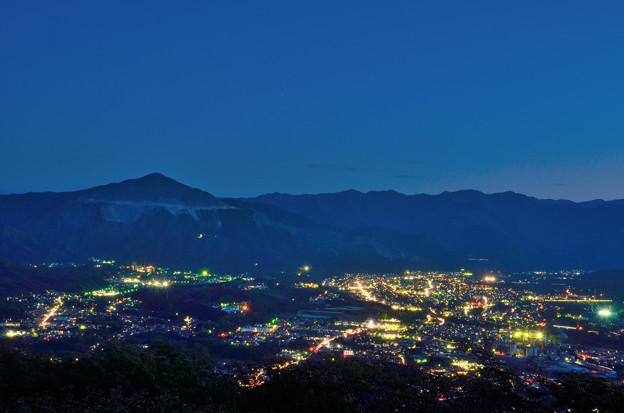 美の山公園から望む秩父の街と武甲山