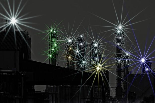 写真: 工場地帯を歩く。 -インチキ夜景-