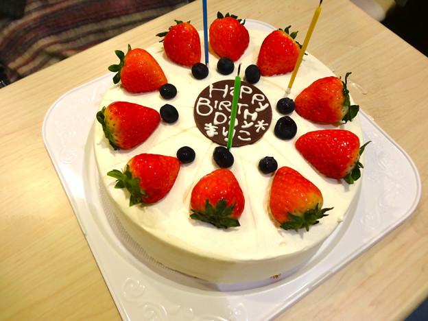バニラシフォン まりちゃんお誕生日 chiffone cake with strawberries 広島市中区新天地 マリオデザート並木店 MARIO dessert