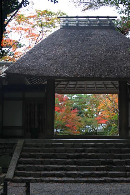 茅葺の山門・秋
