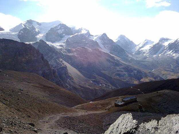 Teahouse overlooking ice mountains