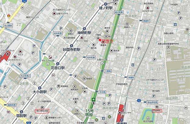 覚應寺、開口神社、方違神社位置図