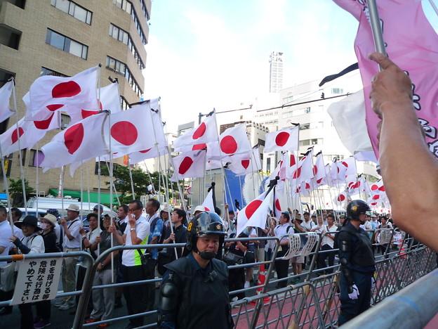 がんばれ日本!全国行動委員会の行進。赤の反転連から日本を護るために集まった一般の日本国民です