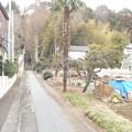 左側は幼稚園、右側は農地の参道