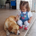 Photos: ♪赤い靴はいてた女の子♪ A girl in red shoes patting a dog