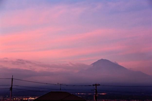 写真: 7月30日富士宮市からの夕方富士山~ ホンノリ焼けましたね!