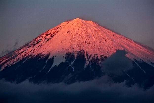 12月17日富士宮からの夕方富士山~ 紅いっす(^ ^)
