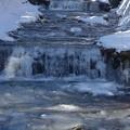 写真: 川の氷も融けはじめました