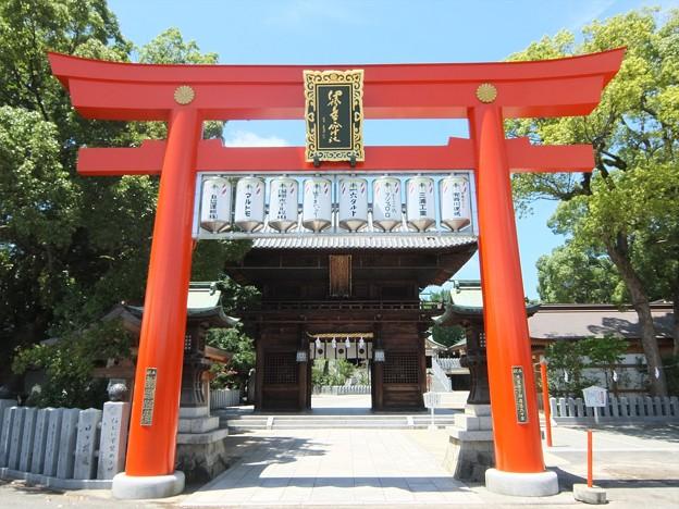 椿神社01 鳥居―赤地に十六八重表菊は天皇旗?