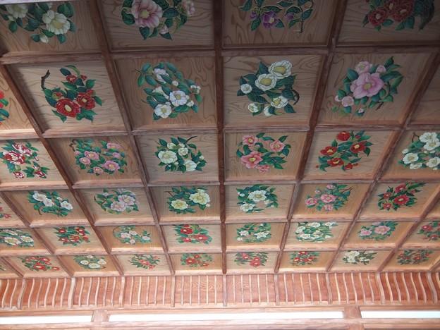 椿神社08 天井は椿だらけ