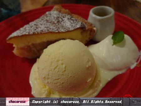 ストロベリーチーズケーキアップルパイ、アイス、生クリーム付き