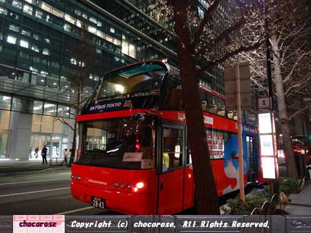 赤い2階建てのSkyバス
