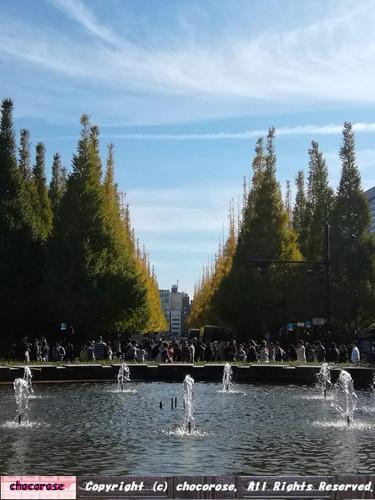 明治神宮外苑いちょう並木の紅葉2018噴水からの眺め