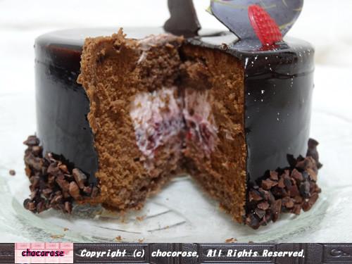 バレンタイン限定ケーキの断面図
