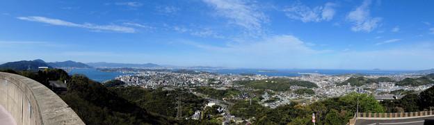 火の山 山頂から眺める下関市街地と響灘