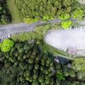 写真: 山の駐車場上空