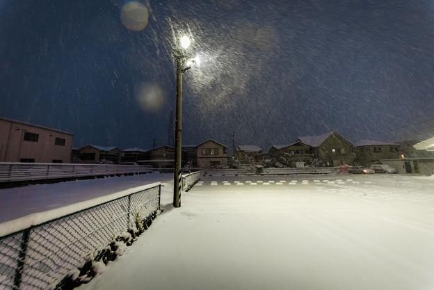 雪景色@17号沿いのファミレス