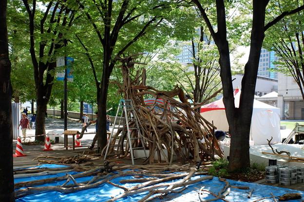 2019.09.19 みなとみらい 横浜美術館前 流木で龍