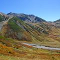 紅葉の山肌と立山連峰