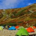 写真: 山もカラフル、テントもカラフル