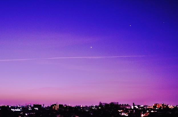 夜明け前の金星&木星