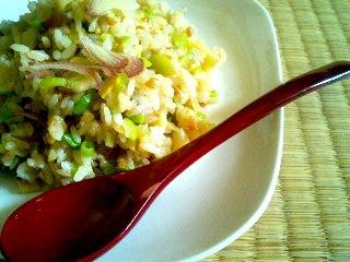筍と塩漬け豚の納豆炒飯
