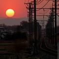 写真: 大きな夕日と小さな電車