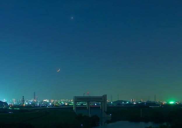 写真: 月齢1.9~極細の月と金星