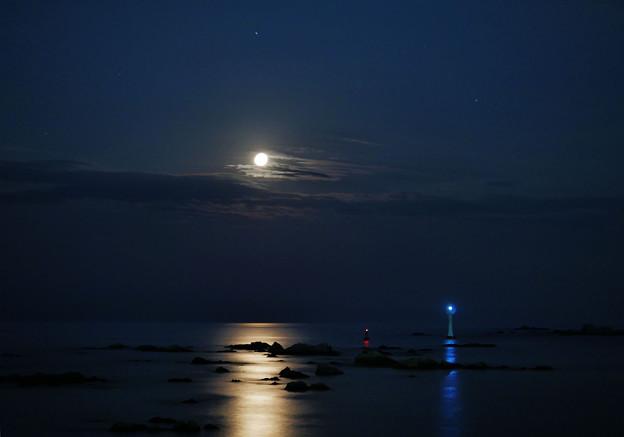 月夜の海に