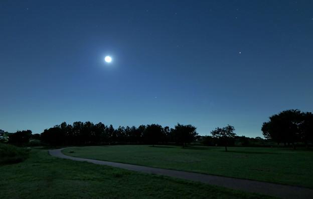 月と火星の明かり