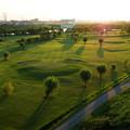 写真: 河川敷ゴルフ場の夕景