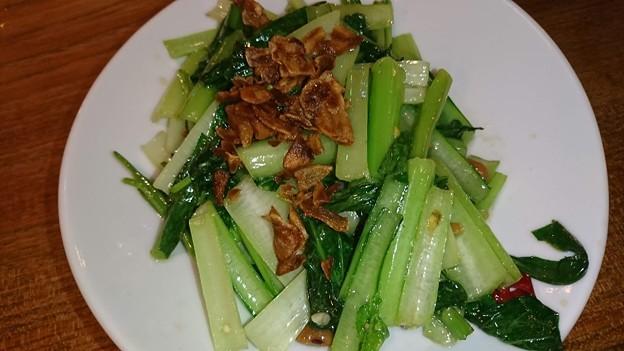 空芯菜と青菜のトチオソース炒め