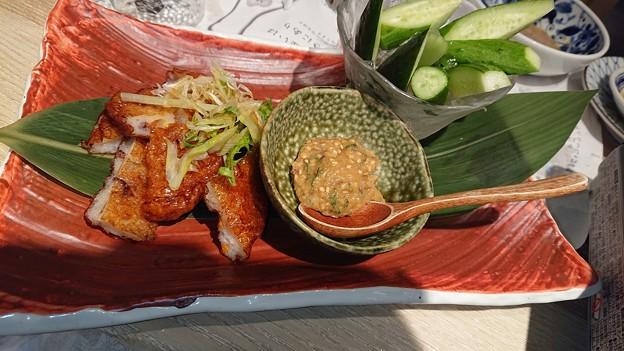 烏賊蛸薩摩揚げ・なめ味噌きゅうり