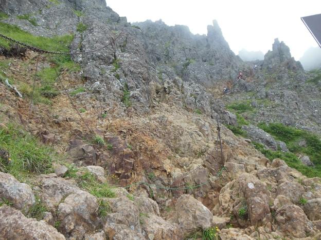 夏登山 赤岳9 文三郎道 急斜面