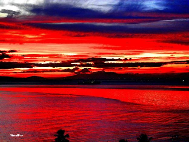 マニラ湾今日の夕日